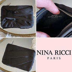 Nina Ricci black satin coin and card holder